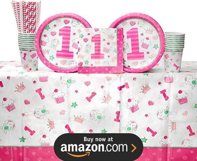 Doodle 1st Birthday Girl Party Supplies