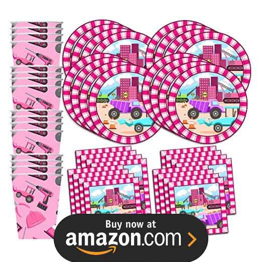 Girl Construction Trucks Party Supplies