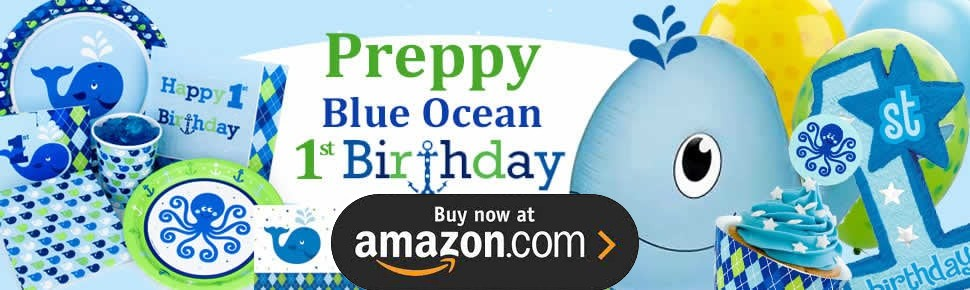 Preppy Boy Ocean 1st Birthday Party Supplies